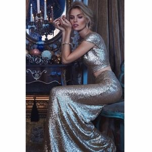DRESS THE POPULATION CARA 2 PIECE SEQUIN GOWN M